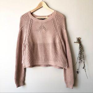 H&M | Rib Knit Cropped Sweater in Blush